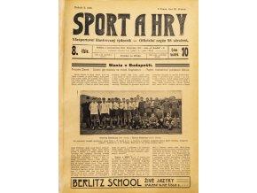 Noviny Sport a Hry, č. 8, Slavia v. Budapešť, 1906