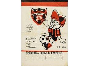Program k utkání TRNAVA vs. Dukla B. Bystrica, Spartakovec, 1987