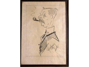 Karikatura Johna Williama Maddena - kresba tužkou J .Fišer 1929