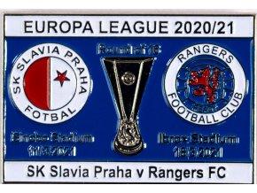 Odznak smalt Europa League 202021, Slavia v. Rangers FC R16, bluewhi