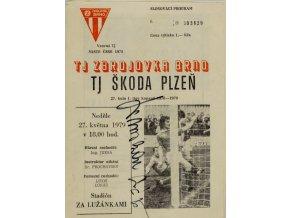 Program Zbrojovka Brno v. TJ Škoda Plzeň, 1979, autogram