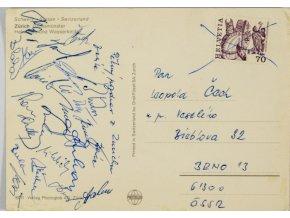 Pohlednice ze zájezdu do Zurich, Zbrojovka Brno, podpisy (2)