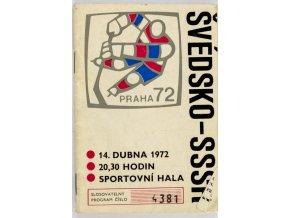 Program hokej, MS Švédsko v. SSSR, 1972