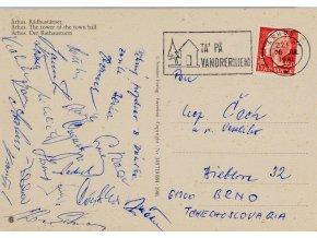 Pohlednice ze zájezdu do Arhus, Zbrojovka Brno, podpisy (2)