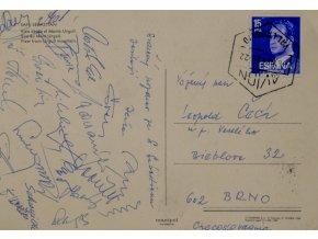 Pohlednice ze zájezdu do San Sebastian, Zbrojovka Brno, podpisy (2)