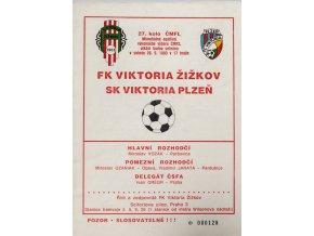 Program FK Viktoria Žižkov vs. FK Plzeň, 1993