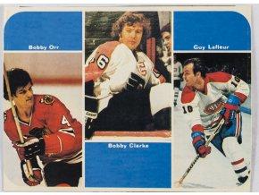 Kartička Bobby Orr, Bobby Clarke, Guy Lafleur, G (1)