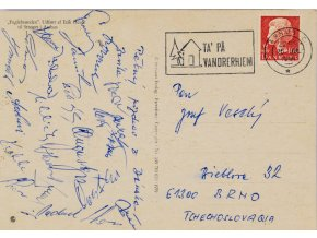 Pohlednice ze zájezdu do Stroget i Aarhus, Zbrojovka Brno, podpisy (1)