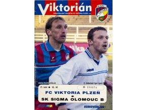 Program Viktorián, Plzeň v. SK Sigma Olomouc B, 2003