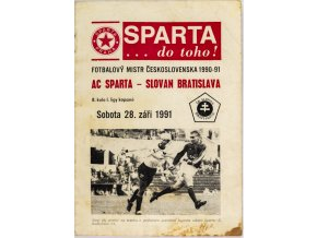 Program fotbal, SPARTA Slovan Bratislava, 1991