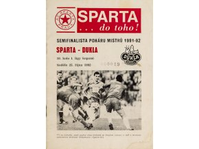 Program fotbal, SPARTA Dukla Praha, 1992