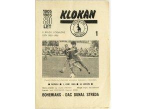 Program Klokan, Bohememians ČKD v. DAC Dunajská Streda, 198586