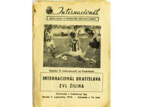 Program Internacionál Bratislava vs. ZVL Žilina, 1974
