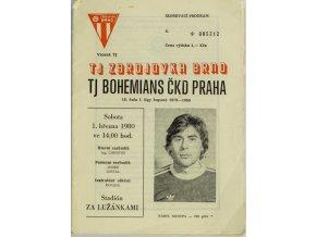 Program Zbrojovka Brno v. Bohemians ČKD Praha, 1979 80