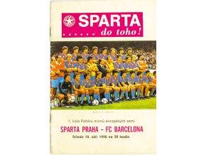 Program fotbal, AC Sparta Praha v. FC Barcelona, 1985