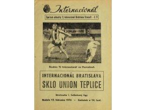 Program Internacionál Bratislava vs. Sklo Union Teplice, 1976