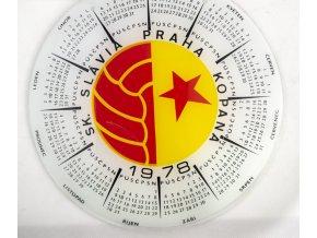 Skleněný kalendář SLAVIA PRAHA fotbal, 1978