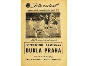 Program Internacionál Bratislava vs. Dukla Praha, 1976