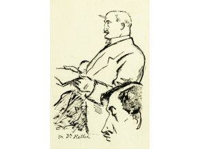 Pohlednice momentka ze schůze VII. sletu, Br. Dr. Heller a Ed. Táborský 1920 (1)