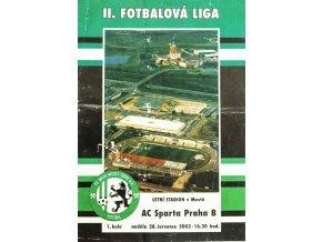 Program fotbal, FK MUS Most v. AC Sparta Praha B, 2002