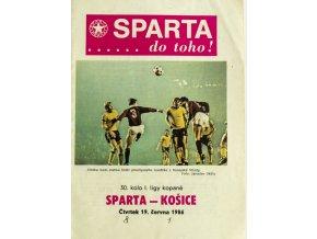 Program fotbal, Sparta Praha v. Košice, 1986