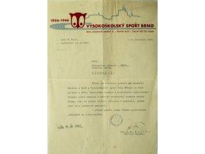 Dokument, Všesokolský sport Brno, 1946