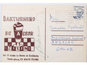 Korespondenční lístek Šakturniro De a ESSR, Žilina (1)