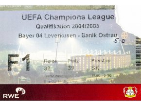 Vstupenka fotbal UEFA CHL, Bayern 04 Leverkusen v. Banik Ostrava, 2004 (1)