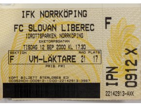 Vstupenka fotbal IFK Norrkoping v. FC Sloavan Liberec, 2000