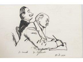 Pohlednice momentka ze schůze VII. sletu, Br. Chroust, V. Štěpánek (1)