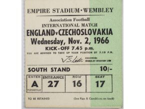 Vstupenka fotbal England vs. Czechoslovakia, Wembley,1966 II