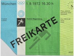 Vstupenka OG Munchen, Freikarte, 1972 známky (1)
