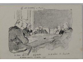 Pohlednice momentka ze schůze VII. sletu, schůze presisia, 1920