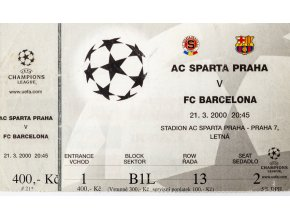 Vstupenka AC Sparta v. Barcelona FC, CHL, 2000