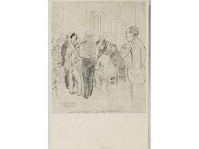 Pohlednice - momentka ze schůze VII. sletu, Bratři na schůzi, 1920