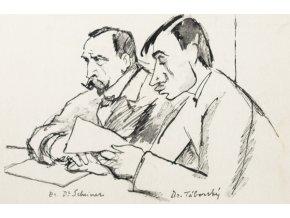 Pohlednice momentka ze schůze VII. sletu, Br. Scheiner a Táborský 1920 (1)