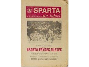Program, Sparta, Do Toho!, AC Sparta Praha v. Frýdek Místek, 1976