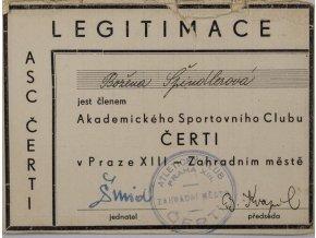 Členská legitimace ASC Čerti Praha, Zahradní město, 1940 (1)
