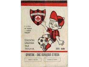 Program k utkání Trnava vs. DAC Dunajská Streda, Spartakovec, 1987
