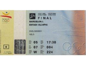 Vstupenka OG Barcelona 1992, Olympic , Athletics Final