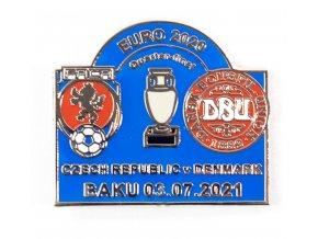Odznak, Euro 2020, Czech republic v. Dennmark, Baku, 2021, blue