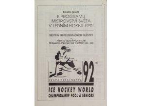 Program příloha, MS 1992, hokej, Pool and Seniors