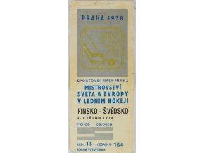 Vstupenka hokej Praha 1978 , Finsko v. Švédsko