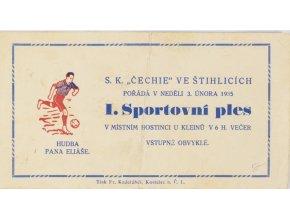 Pozvánka na 1. Sportovní ples, SK Čechie ve Štíhlicích, 1935 (1)