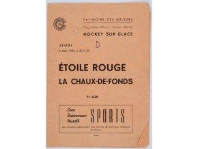 Program hokej, Etolie Rouge v. La Chaux de Fonds, 1954 (1)
