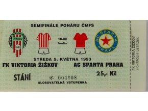 Vstupenka , FK Viktoria Žižkov v. Sparta Praha, 1993