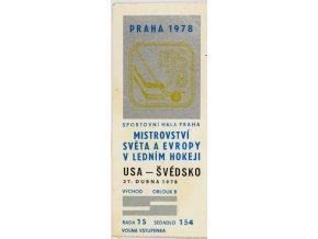 Vstupenka hokej Praha 1978 USA Švédsko 27. Dubna 1978 (1)
