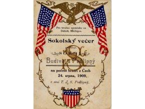 Pozvánka na Sokolský večer, Budivoj Podlipný, Detroit, Michigan, 1909 (1)