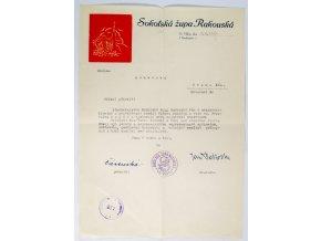 Dokument, Sokolská župa Rakouská, 1949