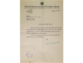 Dokument, Wiener Fussball Verband, 1949